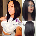 Silky Straight Black Short Cut Bob Wigs Heat Ok Synthetic Lace Front Wig Glueless Bob Lace Wigs for Black Women Free Shipping