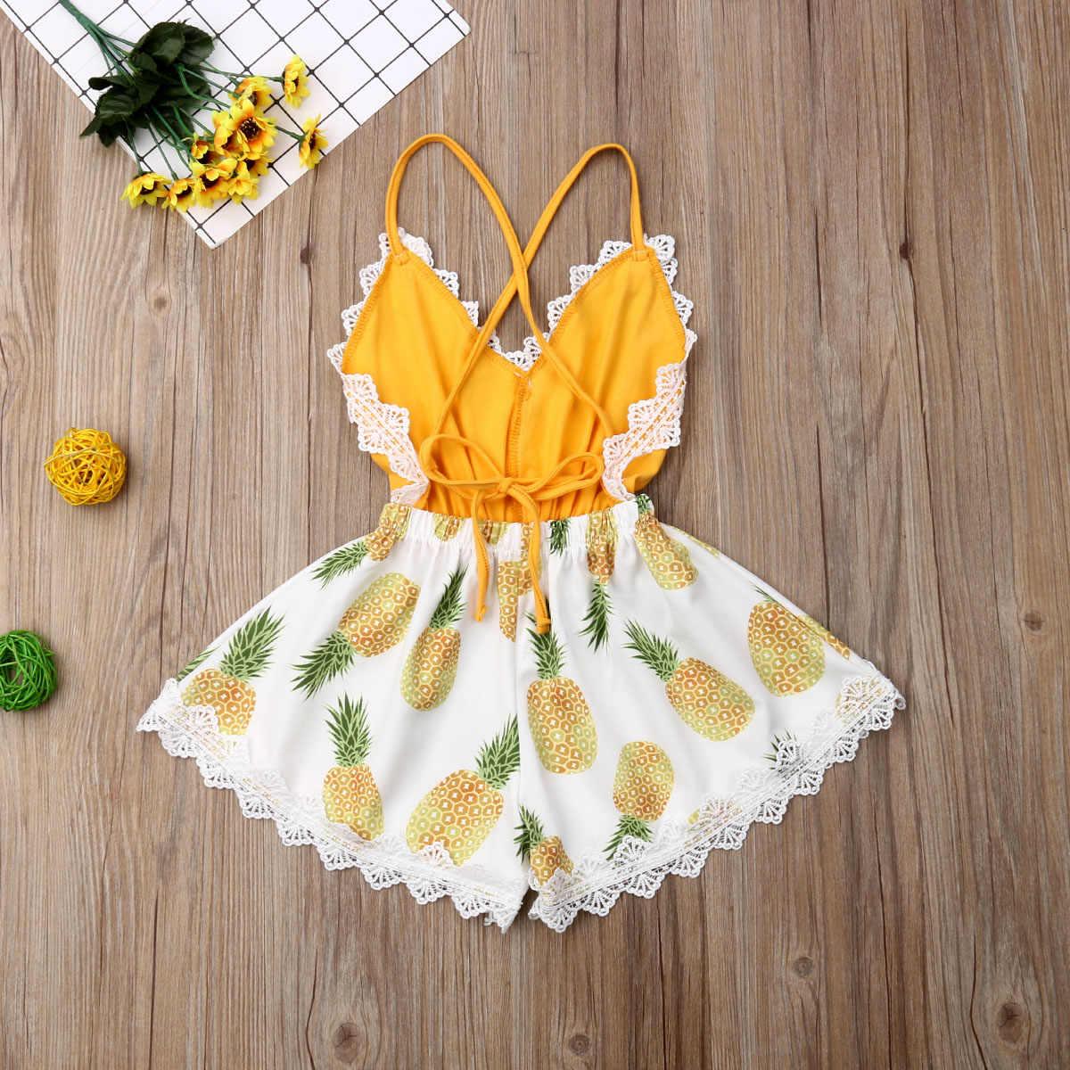2019 เด็กฤดูร้อนเสื้อผ้าเด็กแรกเกิดลูกไม้ Romper แขนกุดคอ V คอชุดพิมพ์ลายดอกไม้ One - Piece Sunsuit เสื้อผ้า