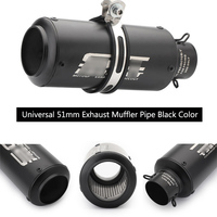 Black Universal 38 51 mm Exhaust Muffler Pipe Stainless Steel Silencer for Motorcycle Scooter Escape Removable DB Killer ATV Tip