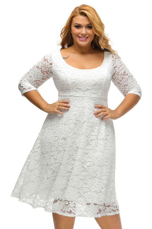 Black White Floral Lace Sleeved Fit and Flare Curvy Girls Dress Knee Length Plus  Size XXXL Dresses for Women Hollow Out Q61395-in Dresses from Women s ... 11f2218d2342