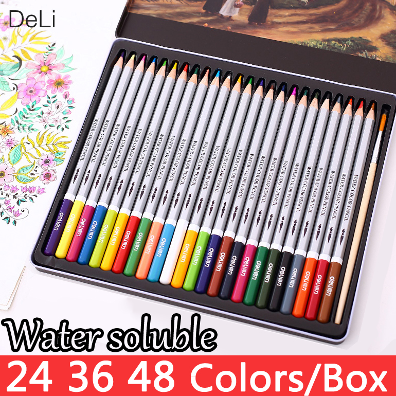 Deli Color Pencil Water Soluble 24 36 48Colors Watercolor Pencils Drawing School for Kids Coloured Pencils Painting Art Supplies 12 24 36 colors water soluble drawing color pencil set rotary watercolor pencils for drawing