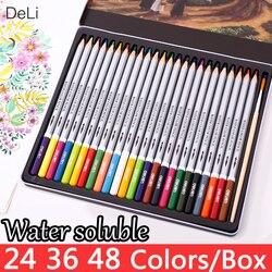 Deli kolor ołówek rozpuszczalne w wodzie 24 36 48 kolory akwarela ołówki rysunek szkoła dla dzieci kolorowe kredki akcesoria do malowania