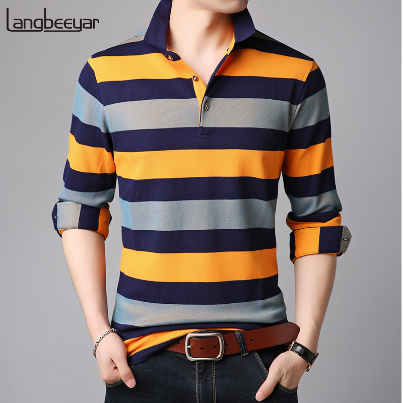 2019 New Fashions Brand Clothing   Polo   Shirt Men's Boy Boys Striped Slim Fit Long Sleeve Top Grade   Polos   Casual Mens Clothing