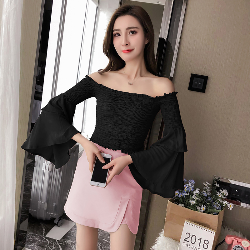 Summer New 2018 Women Sexy Sweet Off Shouler Blouses Shirts Female Double Butterfly Sleeve Wrap Tops Woman White Black Clothes