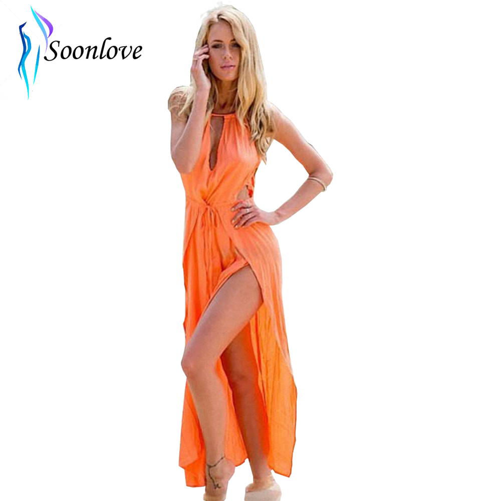 Trending Hot Products 2015 Long Maxi Style Slit Leg Cut Out Front Woman Sexy Swimwear Dress Halter Casual Design
