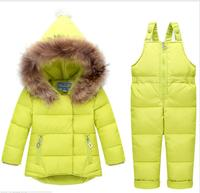 Kid down jacket pants children warm winter suits snowsuit toddler clothing outwear hooded baby coat padded+romper two piece set