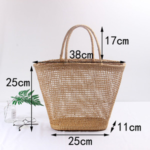 Image 2 - 2018 Simple And Generous No Decorative Plain Color Net Hollow Textured Woven Bag Popular Straw Bag Handbags 37x25CM