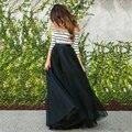 2017 Faldas Largas de Color Negro Precio Barato 100% Imágenes Reales Piso LengthTulle Tutu Faldas Otoño Tutu Falda de Las Mujeres Plisadas faldas