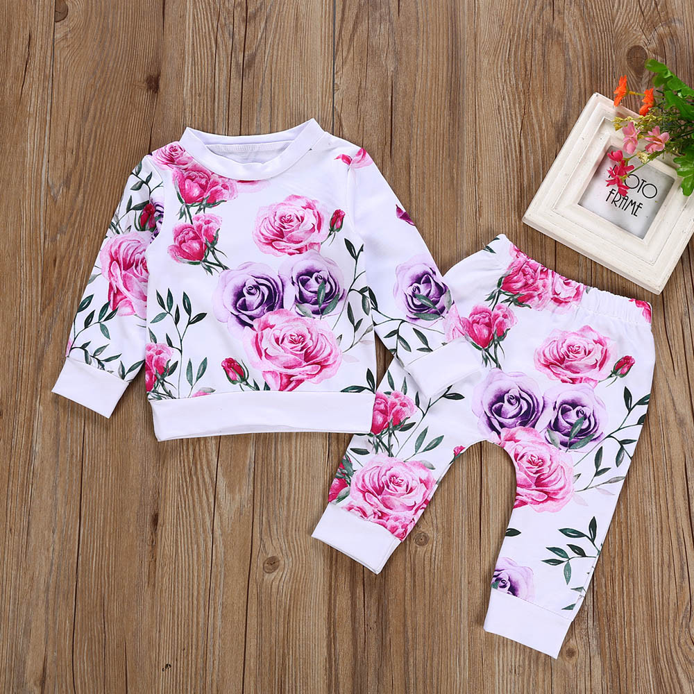 Newborn Infant Baby Girl Clothes Floral T shirt Tops+Pants 2PCS Outfits Setcotton Baby Rompers Jumpsuit Kids Baby