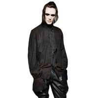 PUNK RAVE Steampunk Vintage Shirt Top Breathable Linen Tie Men Casual Shirt Retro Black White Shirts Autumn Gothic Blouses Male