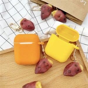 Image 3 - Yeni sevimli tatlı patates dekoratif silikon kılıf Apple Airpods için kılıf aksesuarları koruyucu kapak Bluetooth kulaklık anahtarlık