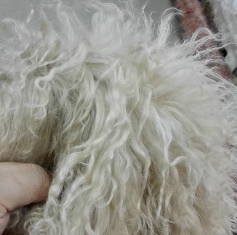 Haute qualité brun blanc véritable agneau brut fourrure 50 CM * 105 CM pièce