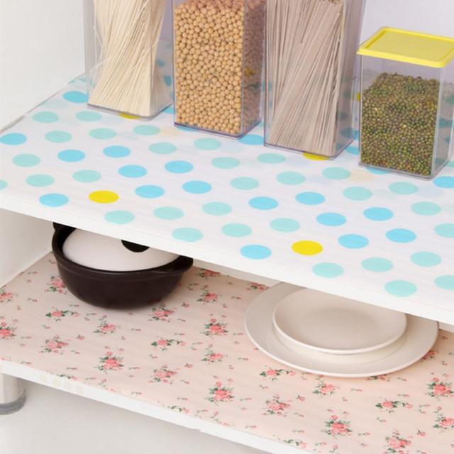5 ロール/セット非粘着棚紙美しいドットパターン引き出し収納ライナー引き出しテーブルキッチンキャビネットパントリー