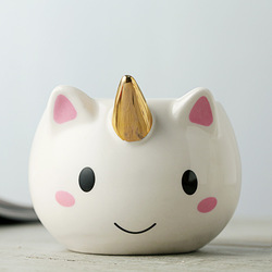 Gran oferta 300ml taza de unicornio 3D creativa taza de té de café de cerámica tazas de unicornio de dibujos animados lindos regalos taza de leche de porcelana para la Oficina