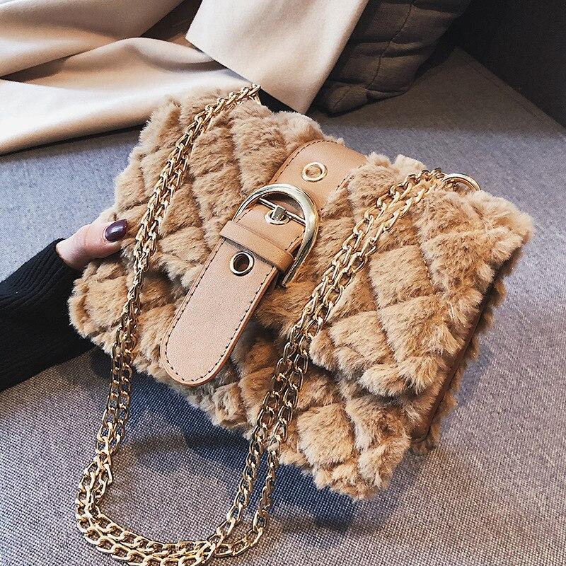 FEMALEE 2018 Winter Fashion Women's Designer Shoulder bag soft plush Ladies Skull Cluthch Tote Chain Channels Linnge Handbags