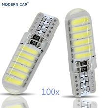 MODERN CAR 100pcs T10 W5W Led Car Interior Light For Auto Silicone Signal Stop Lamp Side Parking Clearance Lights Bulb White 12V
