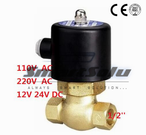 Free Shipping 1/2 Inch Brass Hot Water Steam High Pressure Electric Solenoid Valve NC DC12V,DC24V,AC110V or AC220V 90kpa electric pressure cooker safety valve pressure relief valve pressure limiting valve steam exhaust valve