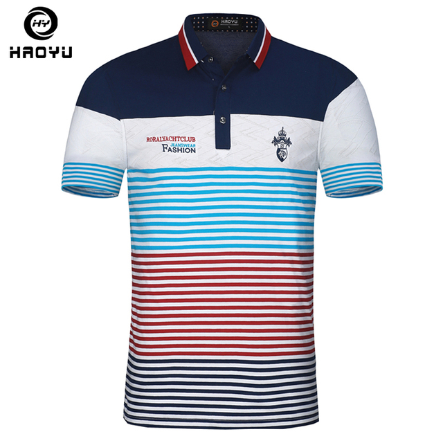 e207f16c Embroidery Men Polo Shirt Brand Floral Collar Striped Printed Polo  Breathable Cotton Slim Mens Polo Shirts Camisa Polos Haoyu