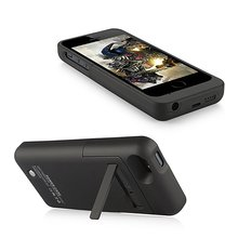 2200mAh External Backup Battery Charger Case Extended Rechargeable Power Bank Case Cover Funda for iPhone 5S 5C w/ Kickstand