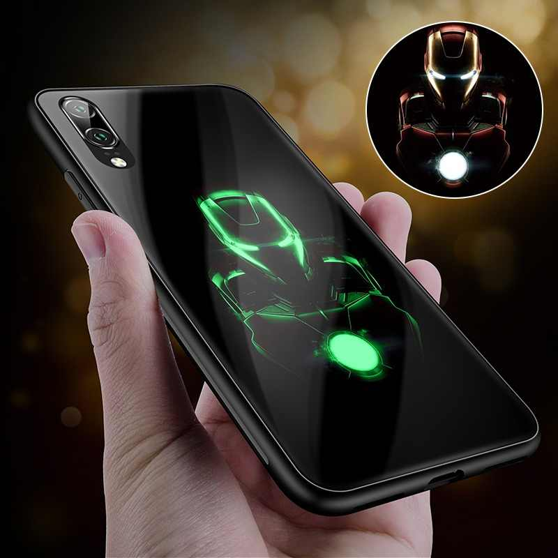 Marvel Luxury Luminous Tempered Glass Phone Case Iron Man Silicone Back Cover For Huawei P10 Plus P20 Pro P30 Pro Avengers Case