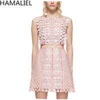 HAMALIEL Self Portrait 2017 Beach Women Luxury Sleeveless Water Soluble Lace Patckwork Hollow Out Summer Pink