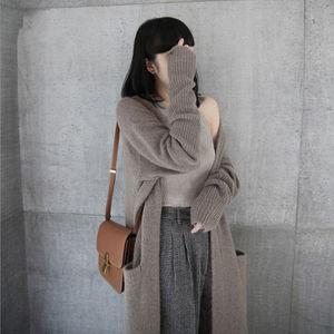 Image 4 - BELIARST 17 Saf kaşmir kazak Kadın V Yaka Kalınlaşmış Hırka Sonbahar ve Kış Yeni Kazak Uzun Cep Örme Ceket