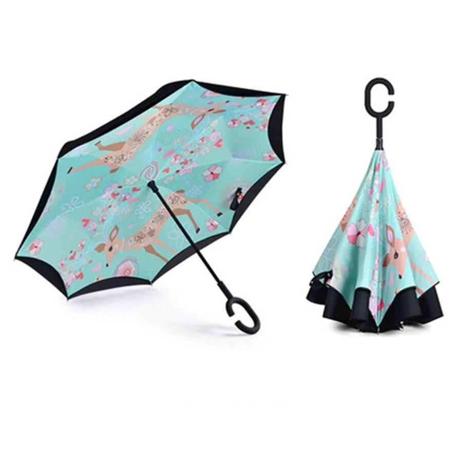 Double Rain Inverted Umbrella Women Sunny Folding Lady Umbrellas Designer Colorful Umbrella Sombrinha Men Parasol Garden 60D0252