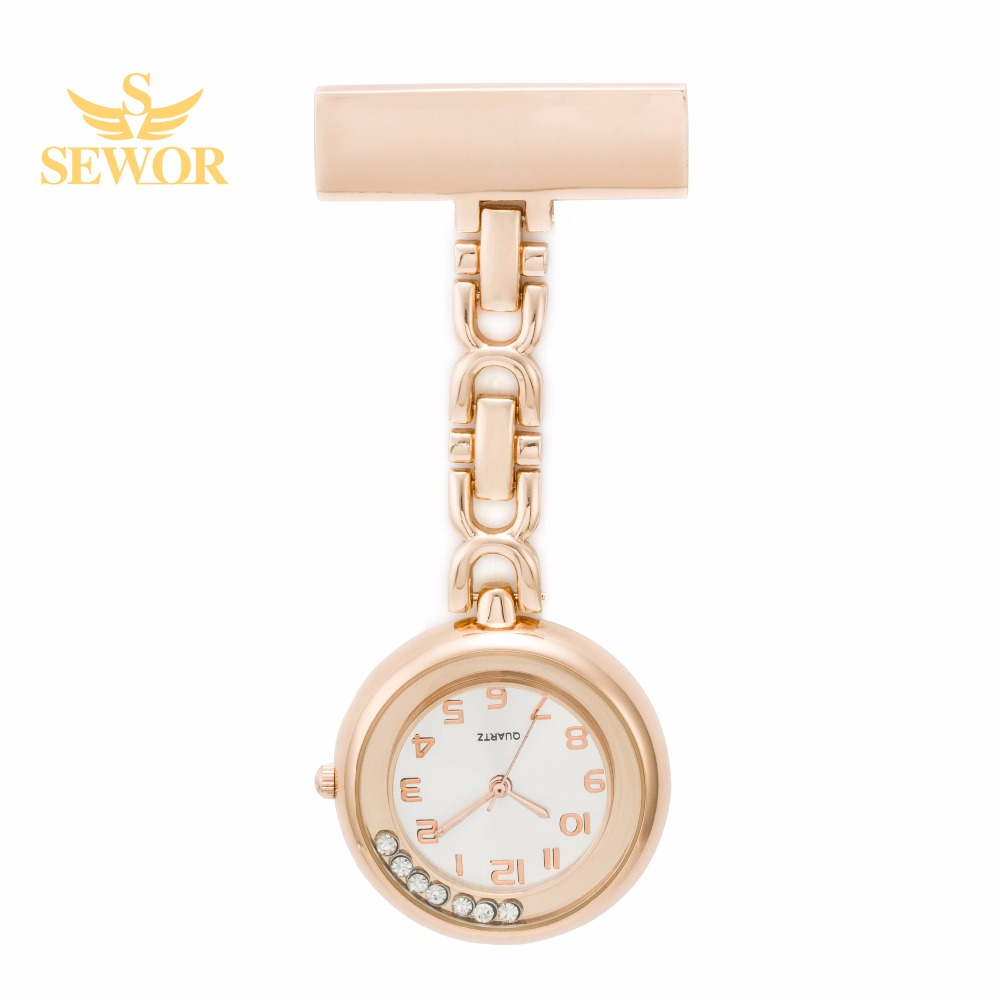 2017 SEWOR Hot Fashion Crystal Nurse Table Pendant Watch with Clip Brooch Chain Quartz Watch Rose Gold C167