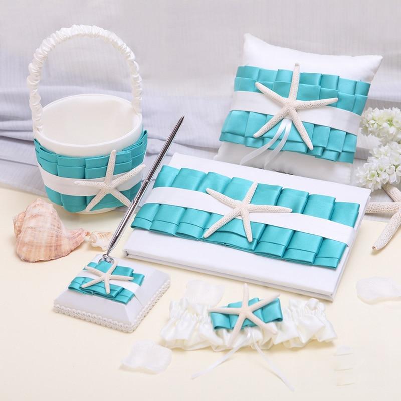 5Pcs/set Creative ocean Sea shells Wedding decor Ring Pillow Flower Basket Garter Guest Book Pen Festive bride Party Supplies