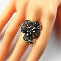 Popular romantic Bohemian girl wholesale gift ancient silver plated ring can adjust the roses. Free shipping!