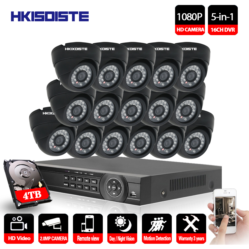 16CH 1080P AHD DVR Kit With 24Pcs Leds 2M IR NightVision Mini CCTV 2MP Indoor Dome AHD Camera Home Security CCTV Camera System vivesion ahd 2 0mp 1080p full hd cctv surveillance camera with 24pcs ir leds