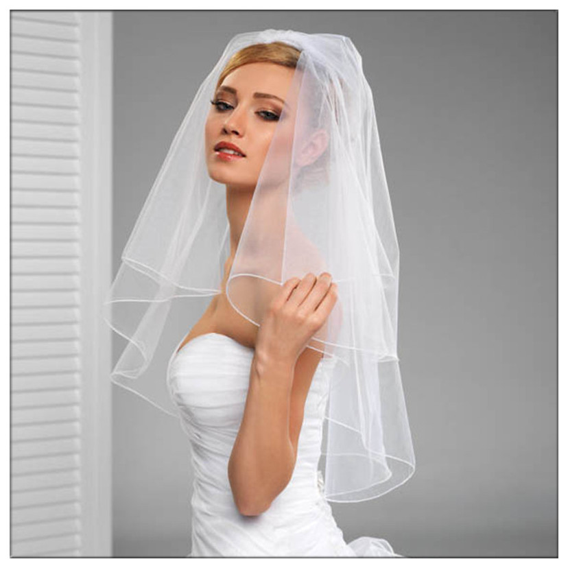 Newest Bridal Veils Two Layers Free Size White Ivory Tulle In Stock Free Size Wedding Veils With Comb 2017 Newest Wedding Access