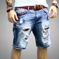 Dril de algodón para hombre Casual Regular Longitud de La Rodilla Corto Bermudas Masculina Pantalones Vaqueros Del Agujero Pantalones Cortos Para Hombres 2016 Nuevo Verano