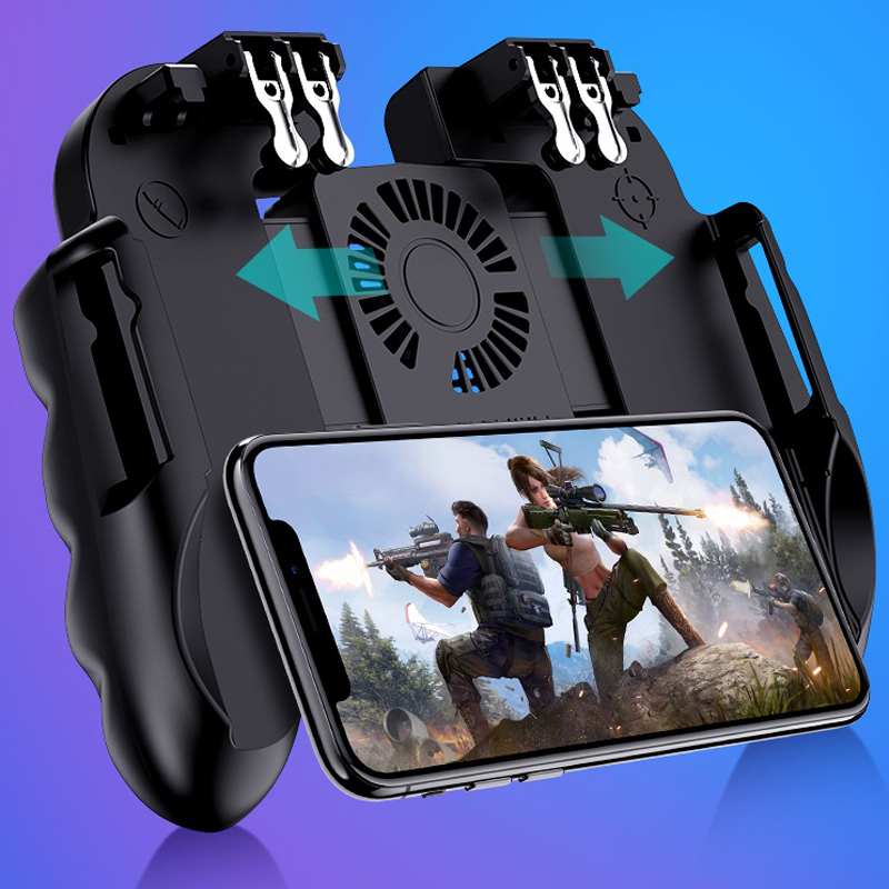 6 Fingers Operation Mobile Phone Controller Gamepad With Cooler Cooling Fan For IOS Android Smartphone Joystick Cooler Battery