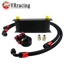 VR-Universal 16ROWS OIL COOLER ENGINE KIT+AN10 oil Sandwich Plate Adapte with Thermostate+2PCS NYLON BRAIDED HOSE LINE BLACK