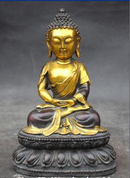 Chinese Buddhism Bronze Gilt Carving Seat Shakyamuni Amitabha Buddha Statue