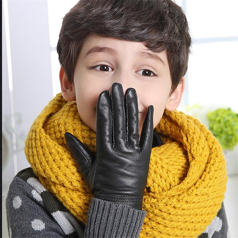 Children Autumn Sheepskin Plus Velvet Thicken Gloves Boys Winter Solid Warm Glove Girls Thick Leather Points Finger Mitten S-2XL