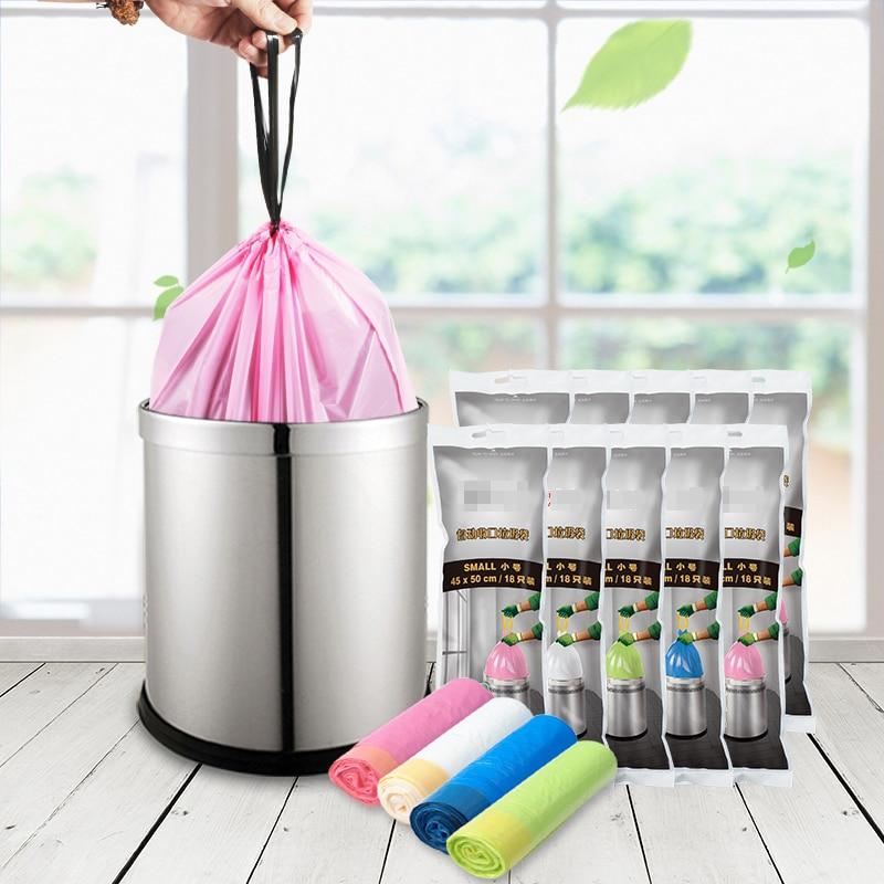 2.6 -15.8 Gallon ( 10L - 60 Liters) Trash Bags - Automatic Closing - Drawstring Plastic Rubbish Garbage Bags - Random Color