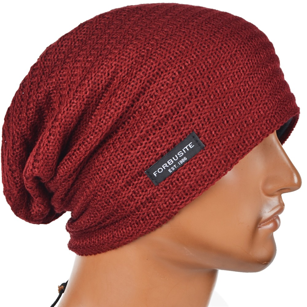 48c95b234a4 Mens Beanie Hat Slouchy Beanies Skullcap Large Women Hats Cap FORBUSITE-in  Skullies   Beanies from Apparel Accessories on Aliexpress.com
