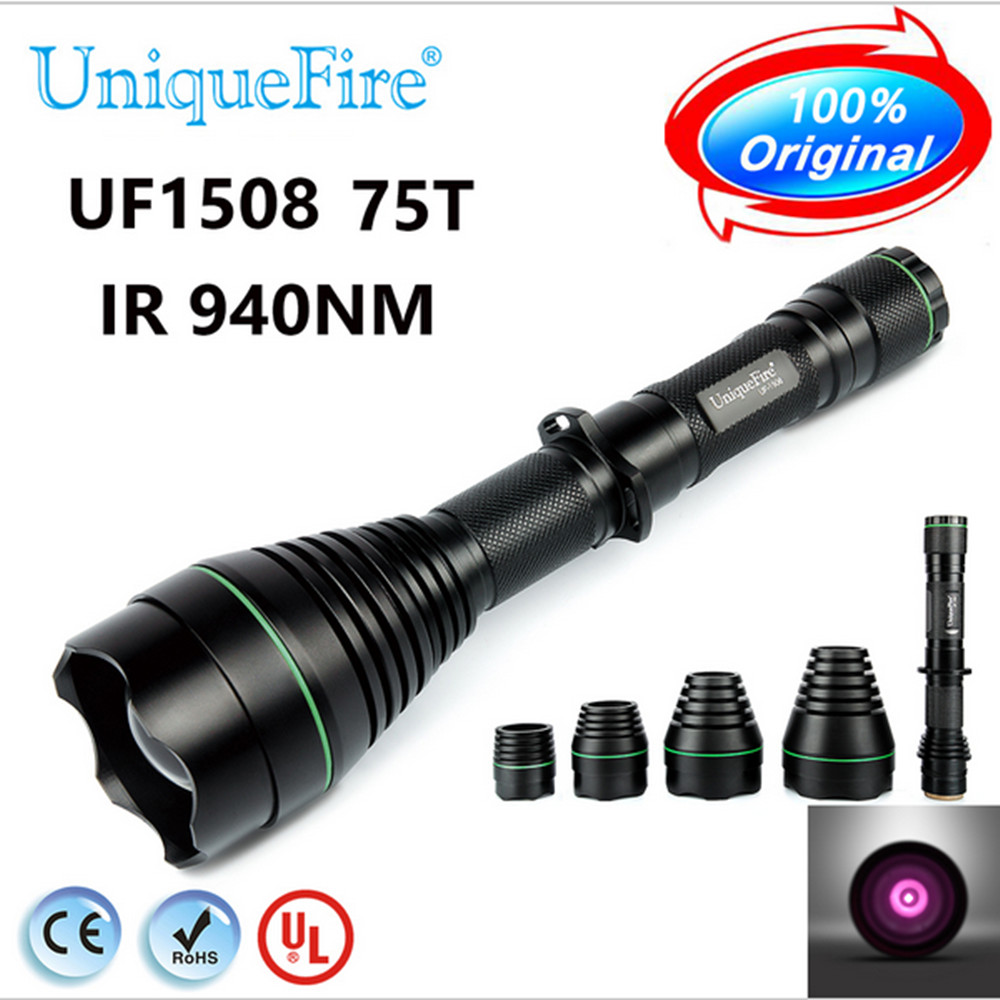 UniqueFire 1508 T75 IR 940nm LED Hunting Flashlight Led Torch Night Vision With 38mm 50mm 67mm 3 Lenses To Choose Free Shipping uniquefire 1508 t75 ir 940nm led hunting flashlight led torch night vision with 38mm 50mm 67mm 3 lenses to choose free shipping