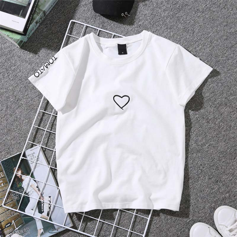 Couples Lovers T-Shirt for Women Love Heart Embroidery Print T-Shirt Female 3