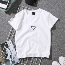 Lovers T-Shirt for Women Casual Love Heart Embroidery Print