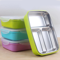 Stainless Steel Lunch Box With Compartments Microwave Bento Box For Kids School Picnic Food Container Portable