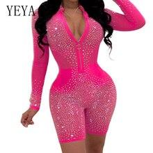 YEYA Sexy Flash Diamond Party Jumpsuits Women Transparent Mesh Bodycon Bandage Playsuits Elegant Long Sleeve Front Zipper Romper
