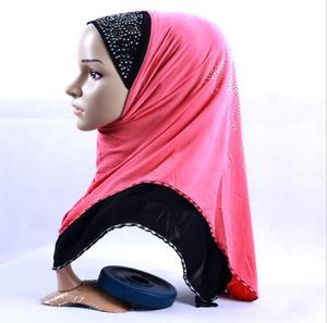 Image 5 - Clearance  Muslim Hijab Ethnic Style Female Scarf Islamic Headscarf (Forehead part beading pattern random sequin or crystal)