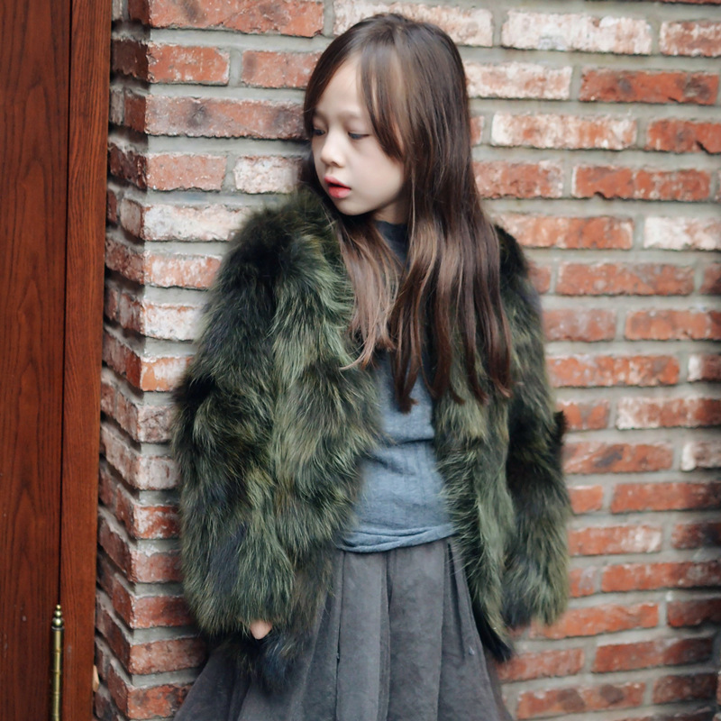 цены на New Children Real Silent Fur Coat Baby Girls Autumn Winter Thick Warm outerwear Fur Clothing Coat Kids Solid Fur Clothing