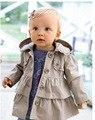 Бесплатная доставка 2015 девочка осенние куртки fashion girl princess длинное пальто детей одевает пальто оптовой и розничной