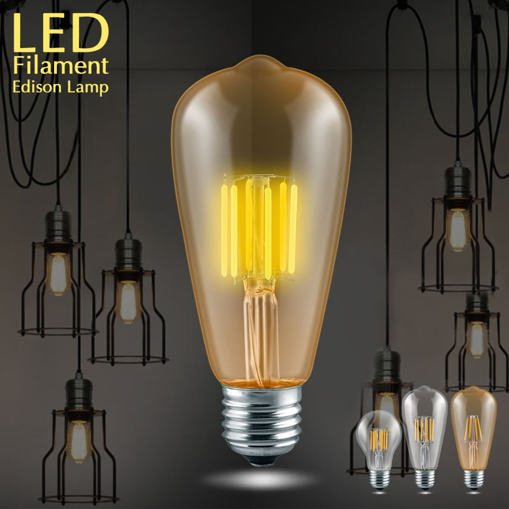 vintage bulbs edison filament bulb st64 cob led lamp e27. Black Bedroom Furniture Sets. Home Design Ideas