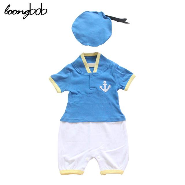 Verão bebés meninos romper pato Donald modelagem azul macacão de manga curta + chapéu azul marinho cap roupas de bebê define 594A