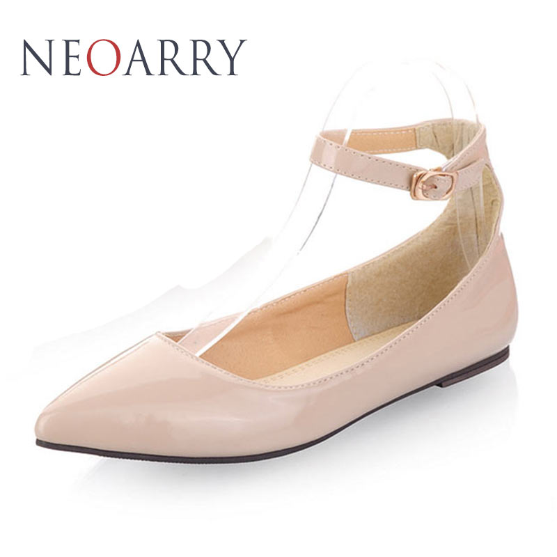 NEOARRY 6 colors solid color patent PU women shoes candy colors flat shoes ballet princess shoes for casual size 30-49 JT034 цена 2016